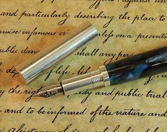 RAW Aluminum Fountain Pen with Midnight Mist Acrylic - Free Shipping #FP10307