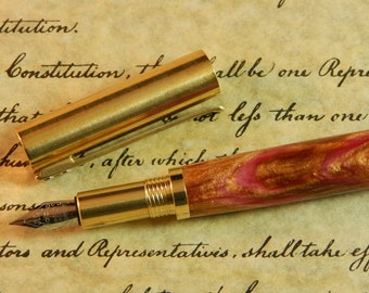 RAW C3604 Brass Fountain Pen with Epiphany Acrylic - Free Shipping #FP10288