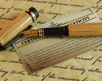 Classic Fountain Pen with Whiskey Barrel Tiger Oak - Free Shipping #FP10246