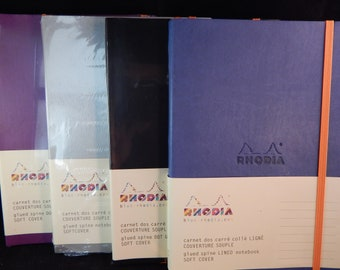 Rhodia Soft Cover Rhodiarama Notebooks, 6 x 8 1/4 (A5), Black, Lined or Dotted