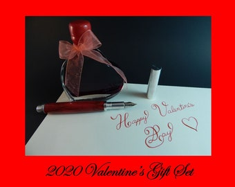 Valenitne's Gift Set 2020 RAW Aluminum Fountain Pen with Rose Petal Acrylic and J. Herbin Ink