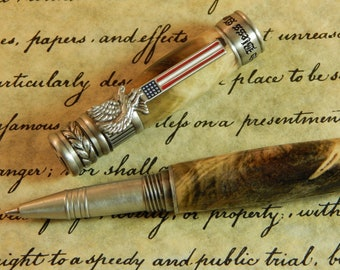 American Patriot Rollerball Pen with Buckeye Burl - Free Shipping #RB3121