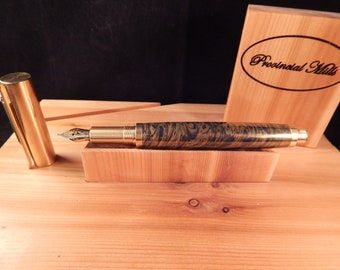 RAW C3604 Brass Fountain Pen with Navy Titanium and Gold #ME121