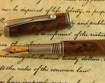 Venetian Fountain Pen (Rollerball conversion Option) with Figured Walnut  - Free Shipping #FP10281