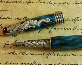 Green Sea Dragon Fountain Pen - Free Shipping #FP10173