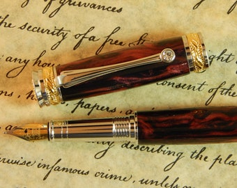 Majestic Jr. Fountain Pen with Midnight Flame Acrylic - Free Shipping #FP10134