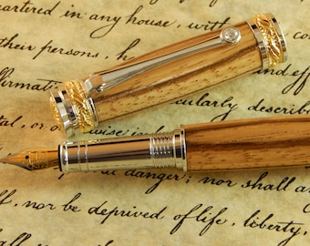 Majestic Jr. Fountain Pen with Zebra wood - Free Shipping #FP10133