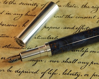 Provincial 6061 Aluminum Fountain Pen with Blue Dyed Maple - Free Shipping #FP10291