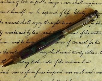 Clip Action Ballpoint Pen with Fluorite Vein Acrylic - Free Shipping #BP00222