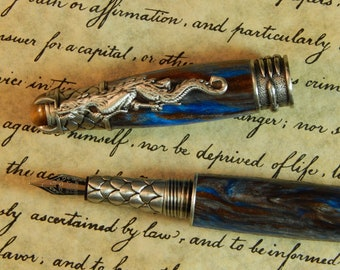 Blue Sapphire Dragon Fountain Pen Free Shipping #FP10176