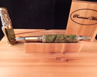 Victorian Fountain Pen with Maple Dyed Green #FP10120