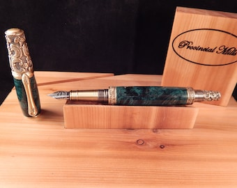 Victorian Fountain Pen with Dyed Box Elder #FP10119