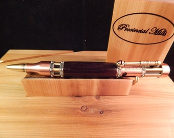 Steampunk Bolt Action Ballpoint with African Blackwood #BP00235