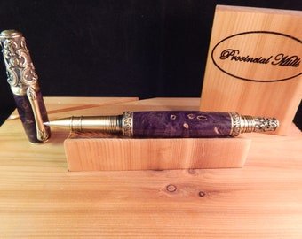 Victorian Rollerball Pen with Purple Buckeye Burl #RB3096