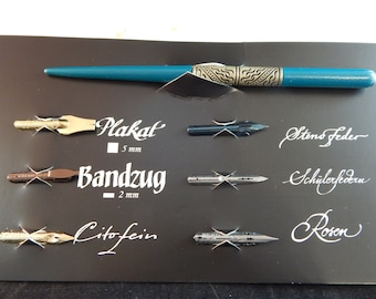 Herbin Belle Epoque Professional Calligraphy Gift Set w/ Metal Engraved Nib Holder, 6 Assorted Nibs