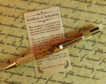 Duraclick C3604 Brass Mechanical Pencil with Olive Wood from Bethlehem - Free Shipping #PC076