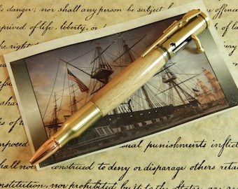 30 Caliber Bolt Action Ballpoint with Limited Edition Colonial Shipyard Wood - Free Shipping #BP00295