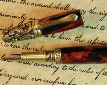 Victorian Fountain Pen - Midnight Flame Acrylic - Free Shipping - #FP10119