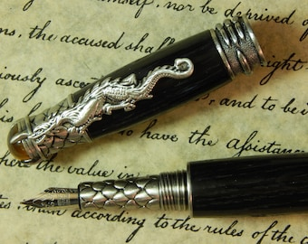 Dragon Fountain Pen with Ancient Bog Oak Wood - Free Shipping #FP10181