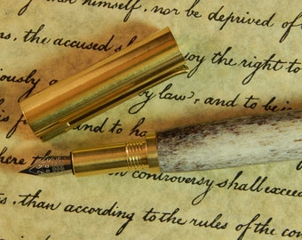 Provincial C3604 Brass Fountain Pen with Elk Antler - Free Shipping #FP10296