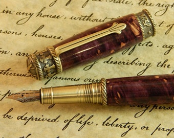 Faith Hope Love Fountain Pen Crafted From Dyed Maple Burl - Free Shipping #FP10250