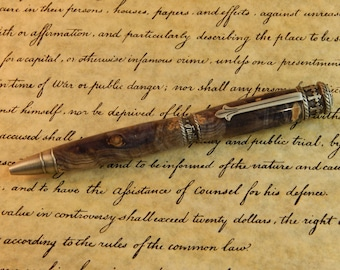 Faith Hope Love Ballpoint Pen Crafted From Black and Gray Dyed Buckeye Burl - Free Shipping #BP00278