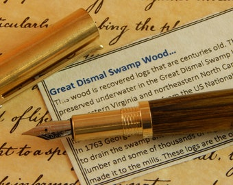 Provincial C3604 Brass Fountain Pen with Great Dismal Swamp Wood - Free Shipping #DS501