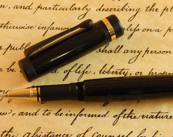 Classic Rollerball Pen with Ancient Bog Oak - Free Shipping #RB3004