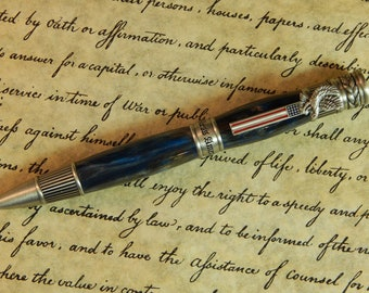 American Patriot Ballpoint Pen with Gold Panning Acrylic - Free Shipping #BP00285