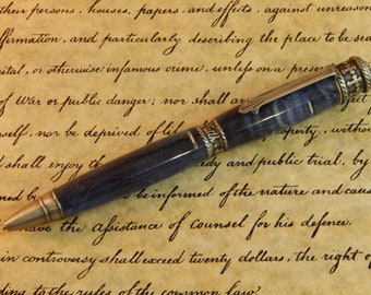 Faith Hope Love Ballpoint Pen Crafted From Blue Dyed Box Elder - Free Shipping #BP00277*2
