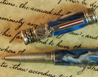 American Patriot Rollerball Pen with Snow Leopard Acrylic - Free Shipping #RB3124