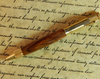 Clip Action Ballpoint Pen with Cocobolo Wood - Free Shipping #BP00223
