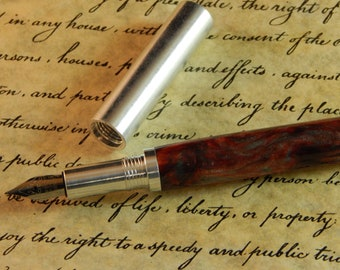 Provincial 6061-T6 Aluminum Fountain Pen with Blood Iron Acrylic - Free Shipping #FP10299