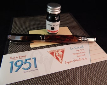 Fountain Pen Gift Package - Vertex Fountain Pen with Hidden Dynasty Acrylic, J Herbin Ink, and Clairefontaine Notebook GB003