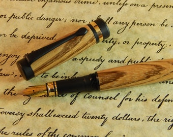 Classic Fountain Pen with Zebra Wood - Free Shipping #FP10145