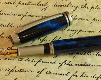 Baron Fountain Pen with Dark Waters Acrylic - Free Shipping #FP10151