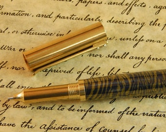 provincial C3604 Brass Rollerball Pen with Navy Titanium and Gold - Free Shipping #ME124