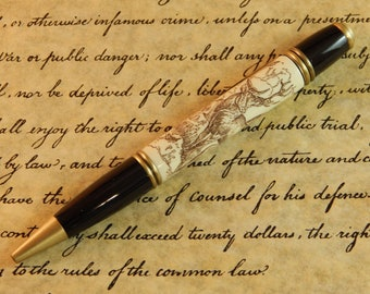 Gatsby Ballpoint Crafted from Alternative Ivory (Acrylic) with Scrimshaw Style Laser Engraving  - Free Shipping #BP00246