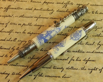 Nautical Ballpoint or Gatsby Ballpoint Crafted from Alternative Ivory (Acrylic) with Scrimshaw Style Laser Engraving #BP00240 #BP00247