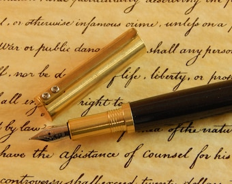 Provincial C3604 Brass Fountain Pen with Black Titanium Metal - Free Shipping #ME116