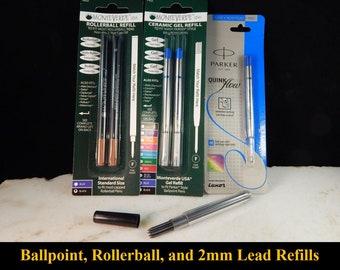 Ballpoint Refills, Rollerball Refills, 2mm Lead Refills, and Pencil Erasers