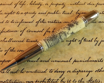 Gatsby Ballpoint Crafted from Alternative Ivory (Acrylic) with Scrimshaw Style Laser Engraving  Free Shipping #BP00244
