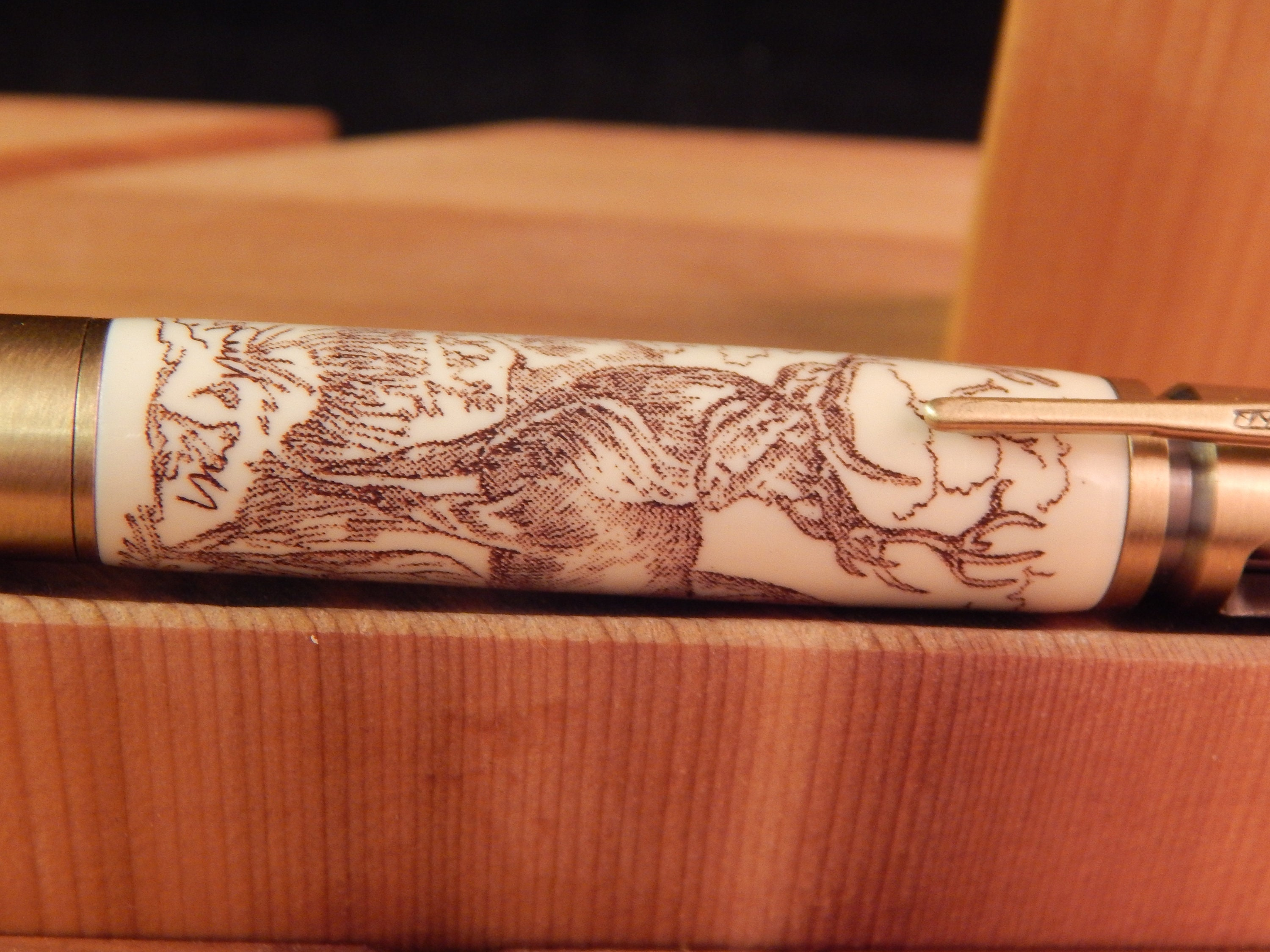 30 Caliber Bolt Action Ballpoint Crafted Alternative Ivory Acrylic With Scrimshaw Engraving