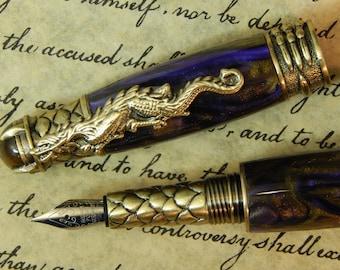 Purple Amethyst Dragon Fountain Pen - Free Shipping #FP10174