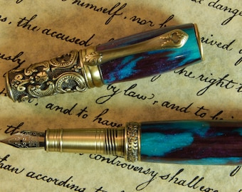 Victorian Fountain Pen - Razzle Berry Acrylic - Free Shipping - #FP10117