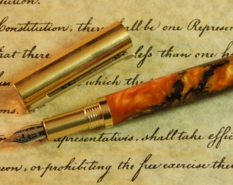 Provincial C3604 Brass Fountain Pen with Gold Acrylic and Walnut - Free Shipping #2020CHMA1