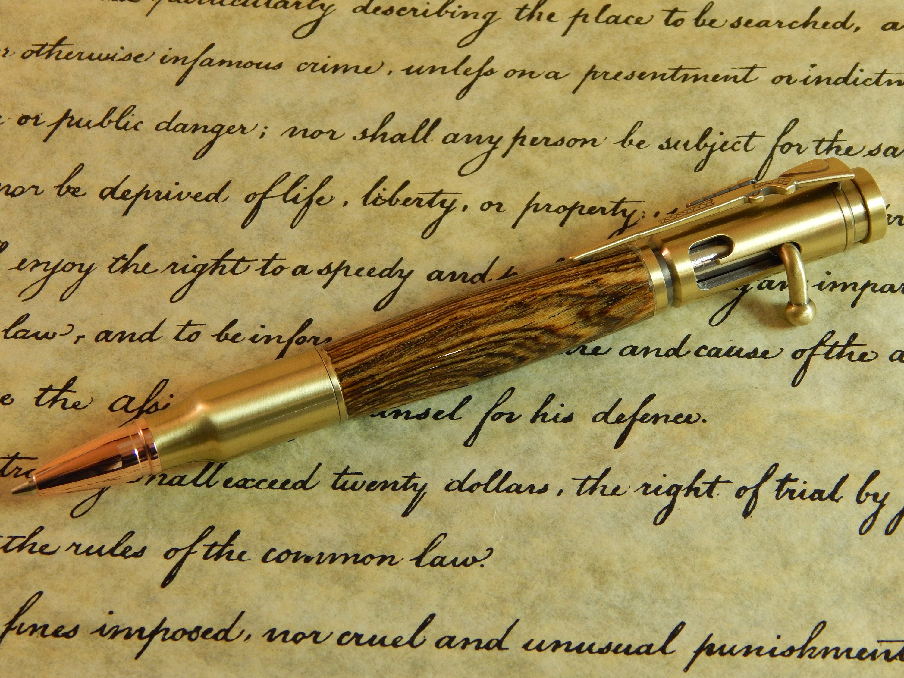 Bolt Action 30 Mechanical Pencil With Bocote Wood Free Shipping Pc058