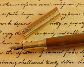 Provincial C3604 Brass Fountain Pen with Red and Gold Copper - Free Shipping #ME120