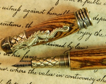 Dragon Fountain Pen with Bocote Wood - Free Shipping #FP10180