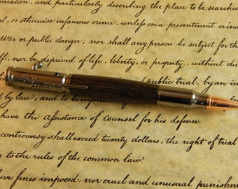 30 Caliber Bolt Action Ballpoint with Ancient Bog Oak - Free Shipping #BP00288